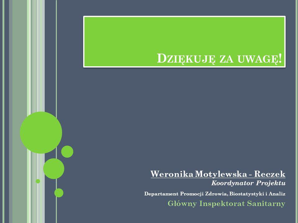 D ZIĘKUJĘ ZA UWAGĘ ! Weronika Motylewska - Reczek Koordynator Projektu Departament Promocji Zdrowia, Biostatystyki i Analiz Główny Inspektorat Sanitar