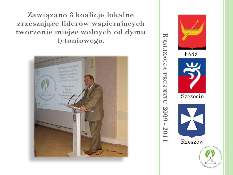 Łódź Rzeszów Szczecin Zawiązano 3 koalicje lokalne zrzeszające liderów wspierających tworzenie miejsc wolnych od dymu tytoniowego. R EALIZACJA PROJEKT