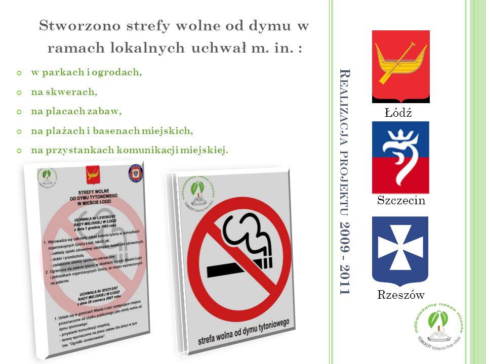 Łódź Rzeszów Szczecin Stworzono strefy wolne od dymu w ramach lokalnych uchwał m. in. : w parkach i ogrodach, na skwerach, na placach zabaw, na plażac