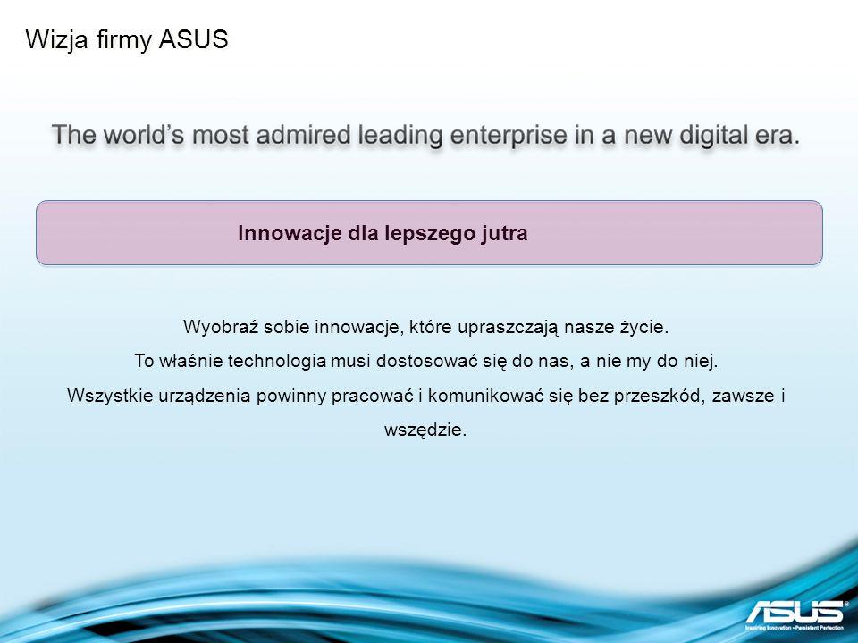 Wizja firmy ASUS Wyobraź sobie innowacje, które upraszczają nasze życie. To właśnie technologia musi dostosować się do nas, a nie my do niej. Wszystki