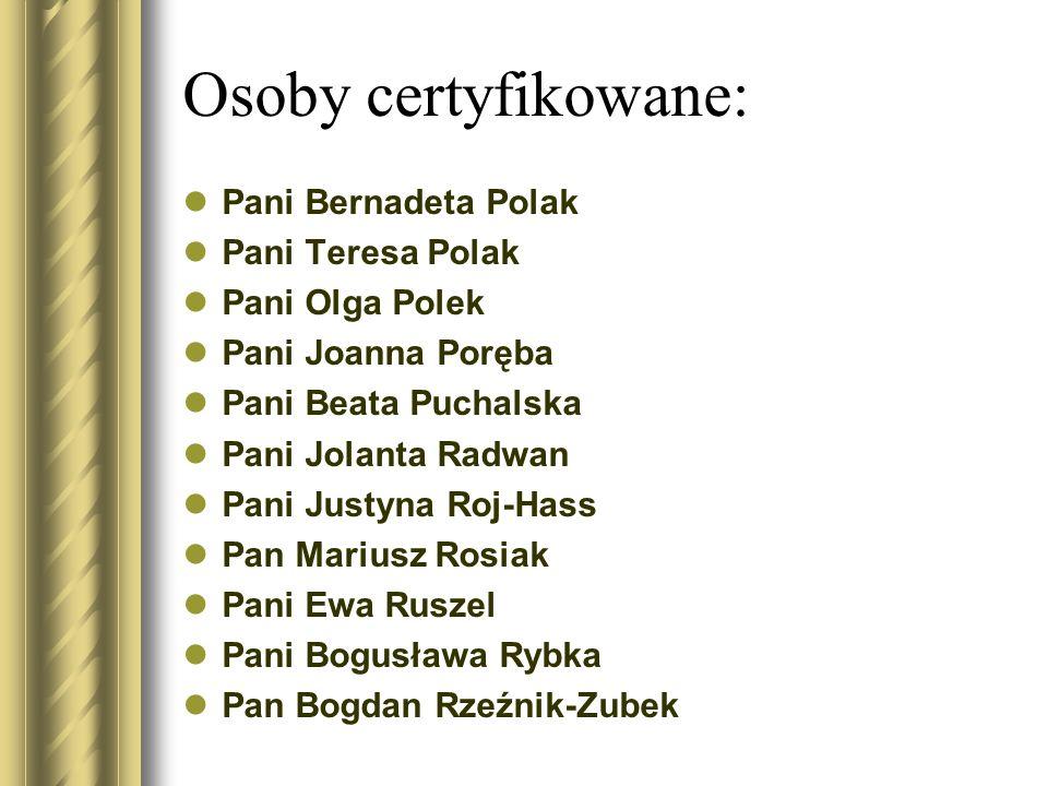 Osoby certyfikowane: Pani Bernadeta Polak Pani Teresa Polak Pani Olga Polek Pani Joanna Poręba Pani Beata Puchalska Pani Jolanta Radwan Pani Justyna R