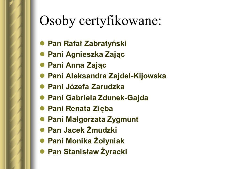 Osoby certyfikowane: Pan Rafał Zabratyński Pani Agnieszka Zając Pani Anna Zając Pani Aleksandra Zajdel-Kijowska Pani Józefa Zarudzka Pani Gabriela Zdu