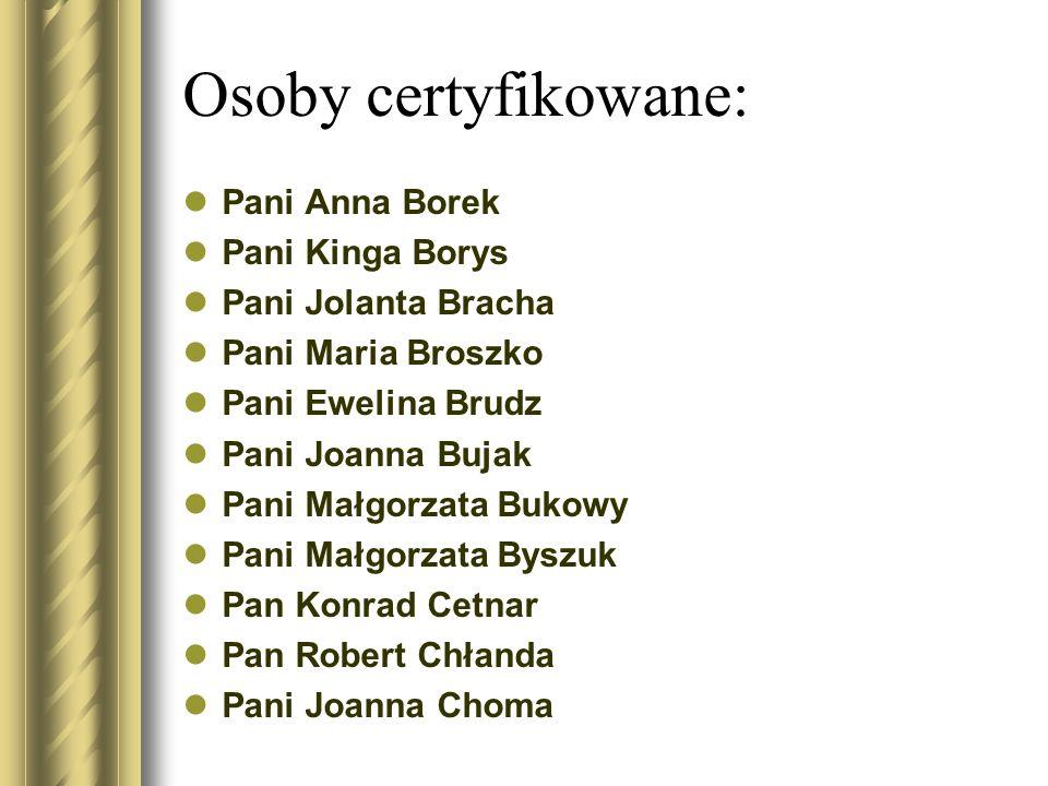 Osoby certyfikowane: Pani Anna Borek Pani Kinga Borys Pani Jolanta Bracha Pani Maria Broszko Pani Ewelina Brudz Pani Joanna Bujak Pani Małgorzata Buko