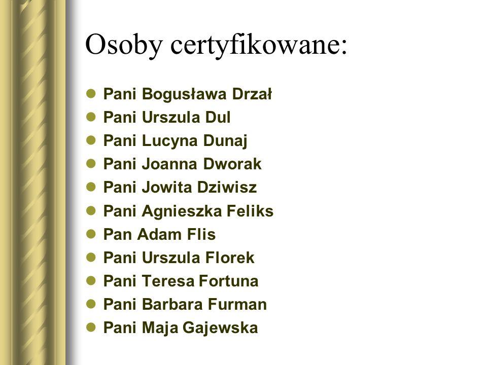 Osoby certyfikowane: Pani Bogusława Drzał Pani Urszula Dul Pani Lucyna Dunaj Pani Joanna Dworak Pani Jowita Dziwisz Pani Agnieszka Feliks Pan Adam Fli