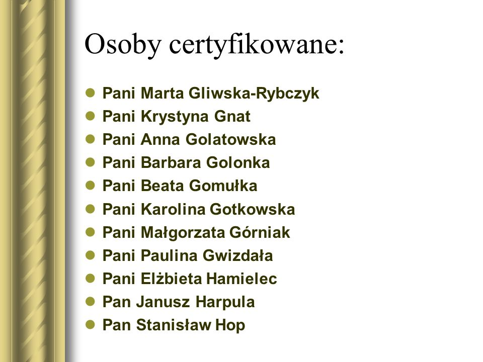 Osoby certyfikowane: Pani Marta Gliwska-Rybczyk Pani Krystyna Gnat Pani Anna Golatowska Pani Barbara Golonka Pani Beata Gomułka Pani Karolina Gotkowsk