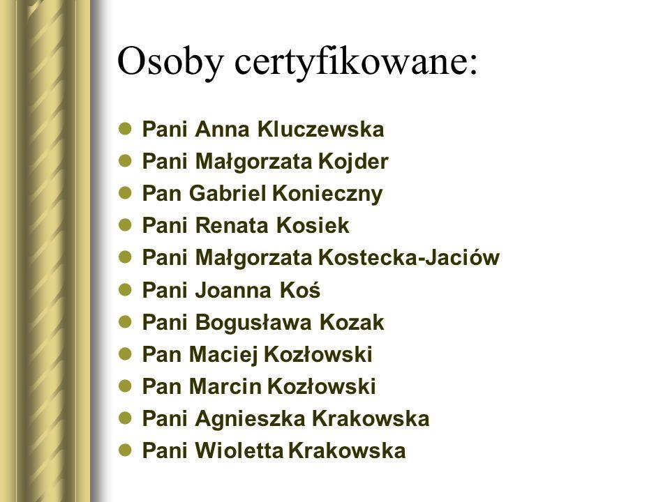 Osoby certyfikowane: Pani Anna Kluczewska Pani Małgorzata Kojder Pan Gabriel Konieczny Pani Renata Kosiek Pani Małgorzata Kostecka-Jaciów Pani Joanna
