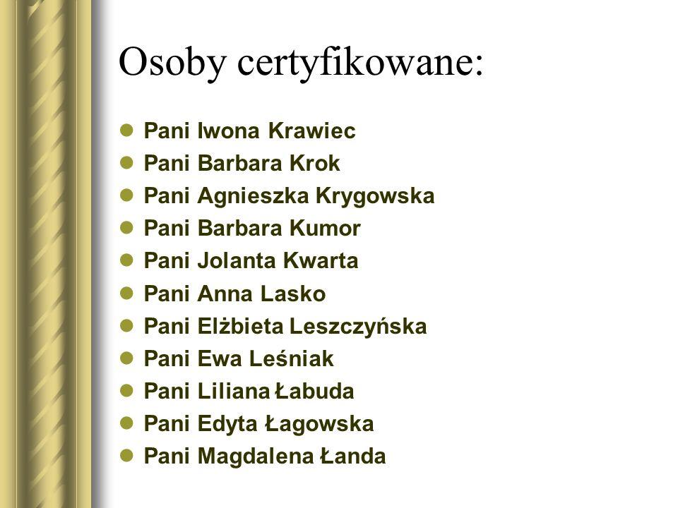 Osoby certyfikowane: Pani Iwona Krawiec Pani Barbara Krok Pani Agnieszka Krygowska Pani Barbara Kumor Pani Jolanta Kwarta Pani Anna Lasko Pani Elżbiet