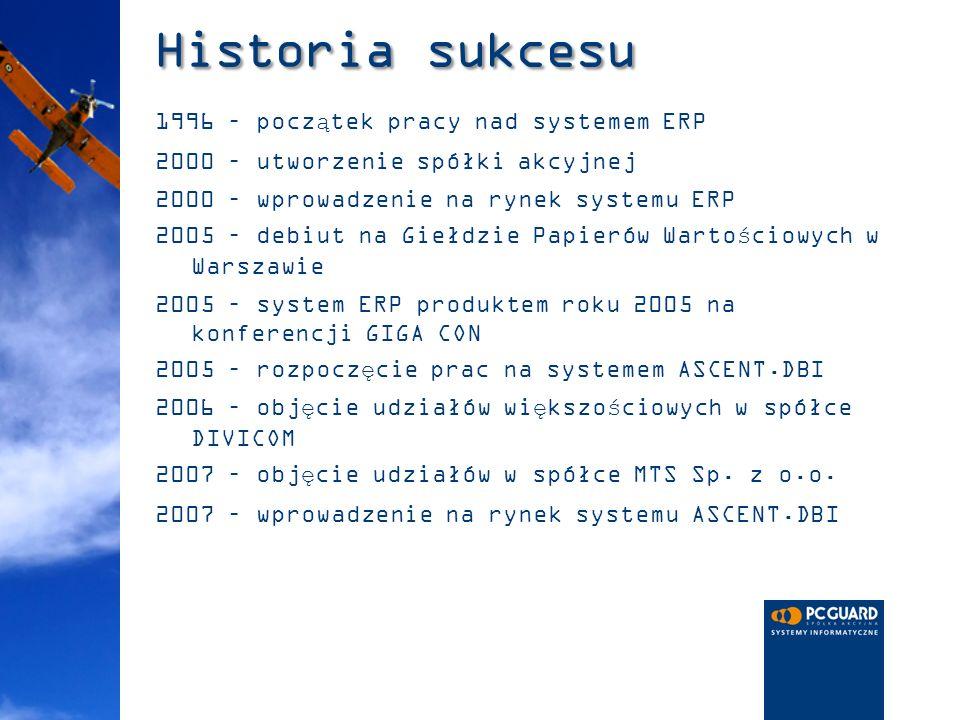 Historia sukcesu 1996 – początek pracy nad systemem ERP 2000 – utworzenie spółki akcyjnej 2000 – wprowadzenie na rynek systemu ERP 2005 – debiut na Gi