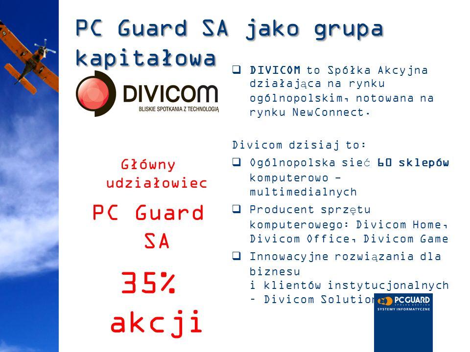 PC Guard SA jako grupa kapitałowa DIVICOM to Spółka Akcyjna działająca na rynku ogólnopolskim, notowana na rynku NewConnect. Divicom dzisiaj to: Ogóln