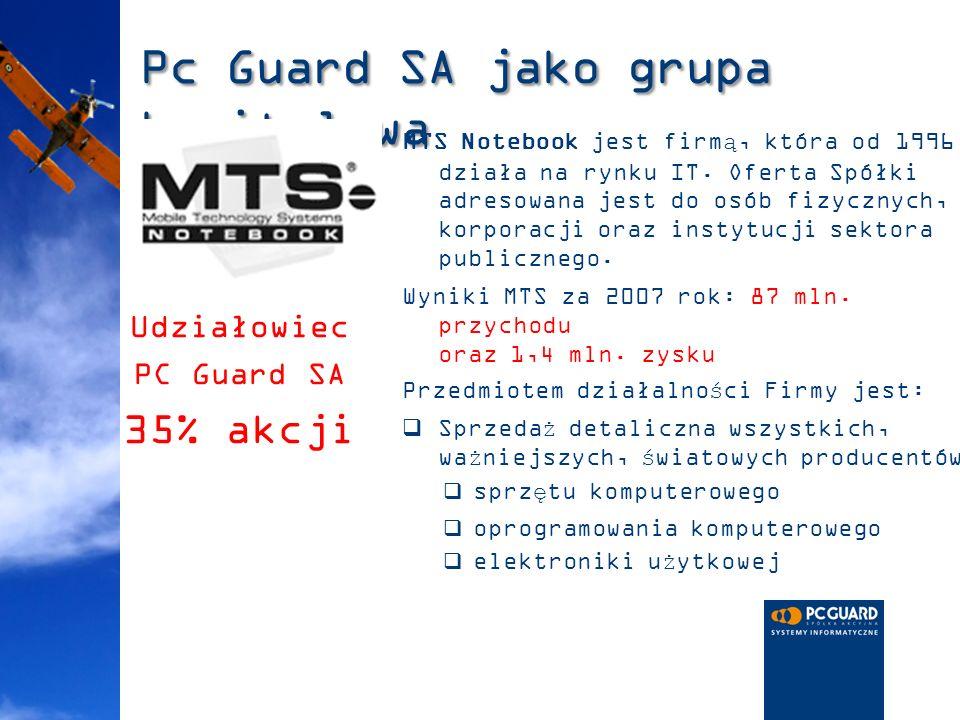 Pc Guard SA jako grupa kapitałowa MTS Notebook jest firmą, która od 1996 działa na rynku IT. Oferta Spółki adresowana jest do osób fizycznych, korpora