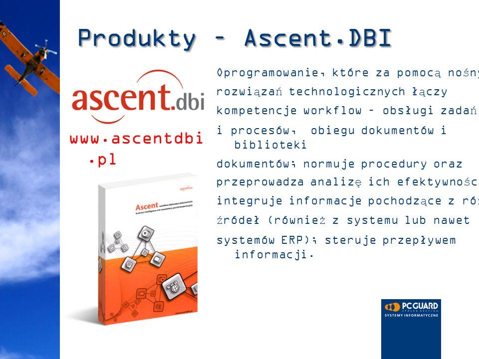Produkty – Ascent.DBI Oprogramowanie, które za pomocą nośnych rozwiązań technologicznych łączy kompetencje workflow – obsługi zadań i procesów, obiegu