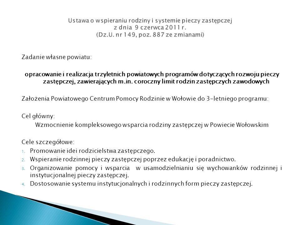 Zadanie własne powiatu: opracowanie i realizacja trzyletnich powiatowych programów dotyczących rozwoju pieczy zastępczej, zawierających m.in. coroczny