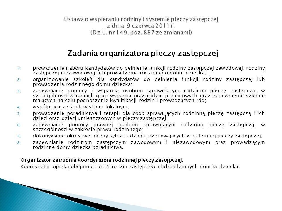 Zadania organizatora pieczy zastępczej 1) prowadzenie naboru kandydatów do pełnienia funkcji rodziny zastępczej zawodowej, rodziny zastępczej niezawod