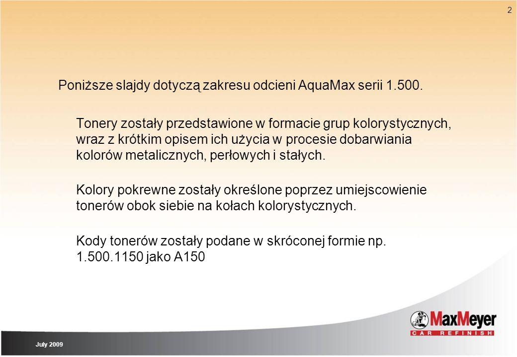 2 Poniższe slajdy dotyczą zakresu odcieni AquaMax serii 1.500. Tonery zostały przedstawione w formacie grup kolorystycznych, wraz z krótkim opisem ich