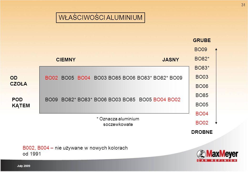 31 WŁAŚCIWOŚCI ALUMINIUM BO02BO05BO04BO03BO85BO06 * Oznacza aluminium soczewkowate OD CZOŁA POD KĄTEM GRUBE BO09 BO82* BO83* BO03 BO06 BO85 BO05 BO04
