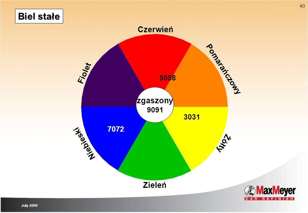40 Biel stałe Zieleń Czerwień Pomarańczowy Żółty Niebieski zgaszony Fiolet 9091 3031 7072 5058 July 2009