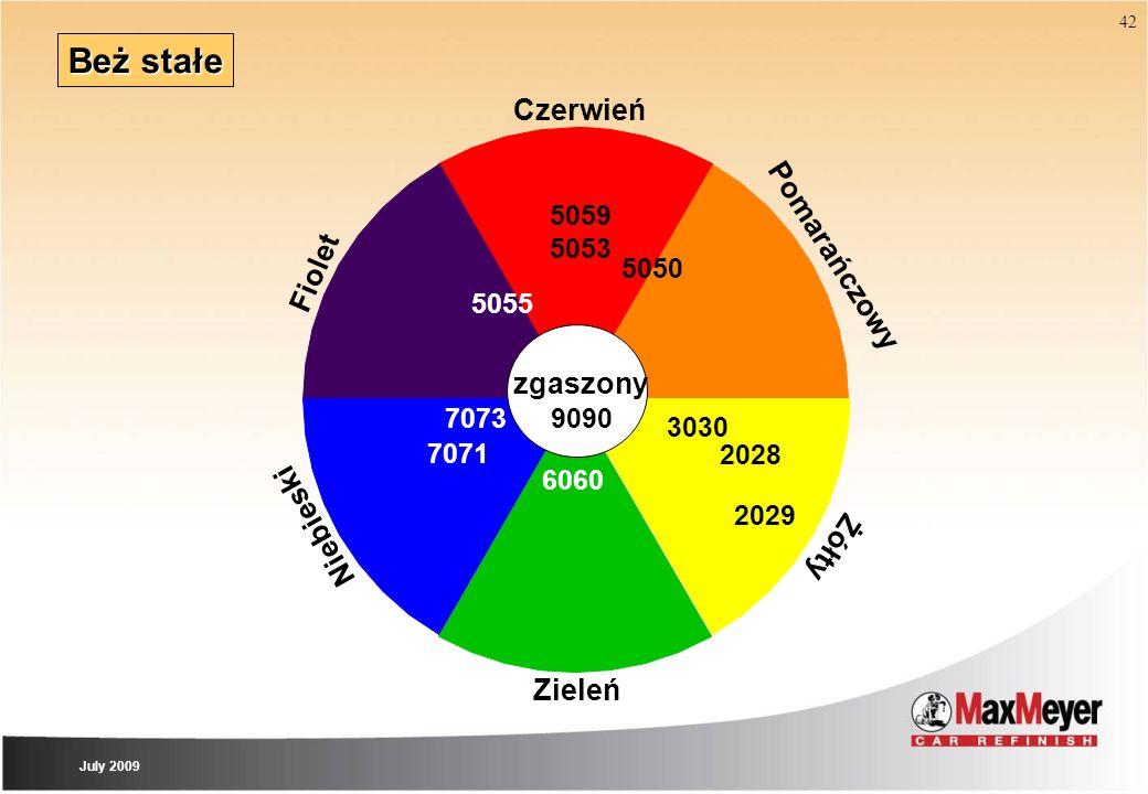 42 Beż stałe Zieleń Czerwień Pomarańczowy Żółty Niebieski zgaszony Fiolet 9090 7071 5055 7073 6060 3030 2029 5050 5059 5053 2028 July 2009
