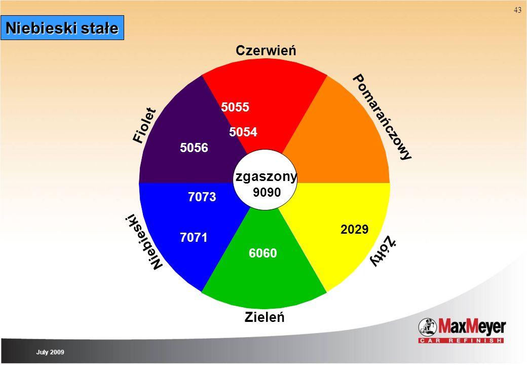 43 Niebieski stałe Zieleń Czerwień Pomarańczowy Żółty Niebieski zgaszony Fiolet 9090 7071 5056 7073 6060 2029 5054 5055 July 2009