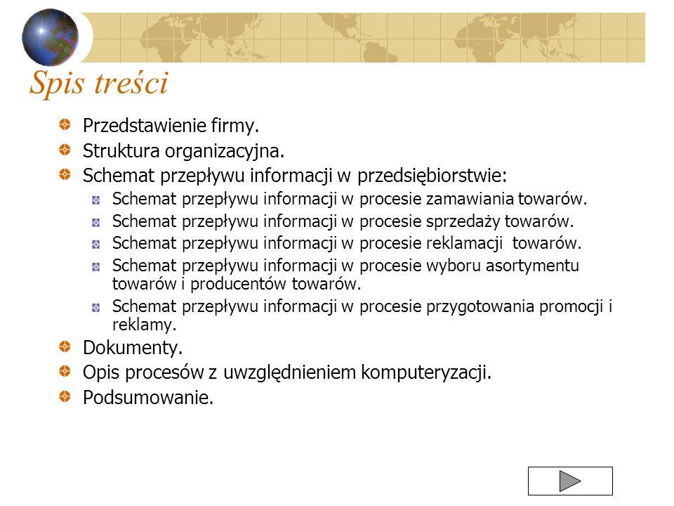 Spis treści Przedstawienie firmy. Struktura organizacyjna. Schemat przepływu informacji w przedsiębiorstwie: Schemat przepływu informacji w procesie z