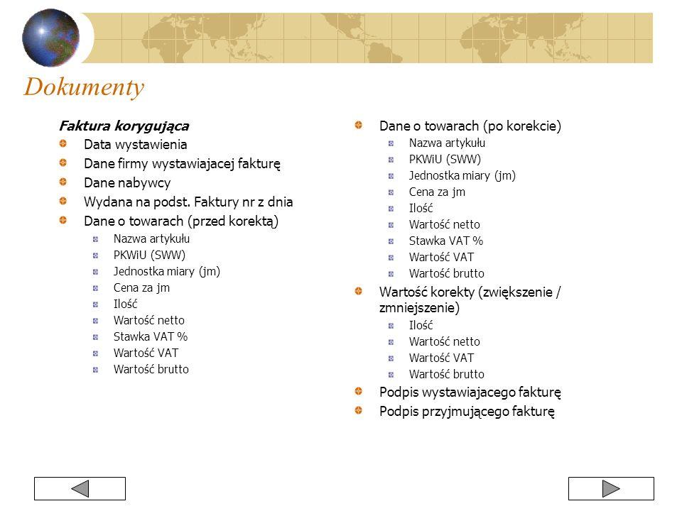 Faktura korygująca Data wystawienia Dane firmy wystawiajacej fakturę Dane nabywcy Wydana na podst. Faktury nr z dnia Dane o towarach (przed korektą) N