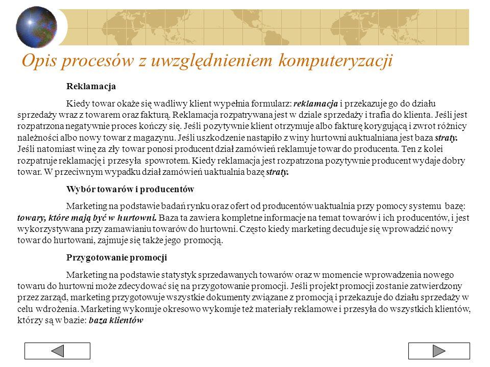 Reklamacja Kiedy towar okaże się wadliwy klient wypełnia formularz: reklamacja i przekazuje go do działu sprzedaży wraz z towarem oraz fakturą. Reklam