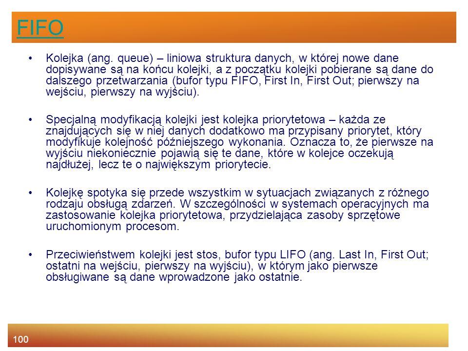 100 FIFO Kolejka (ang.
