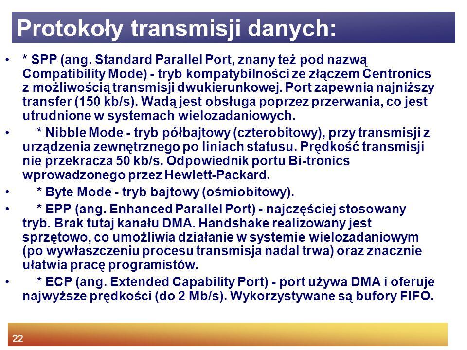 22 Protokoły transmisji danych: * SPP (ang.