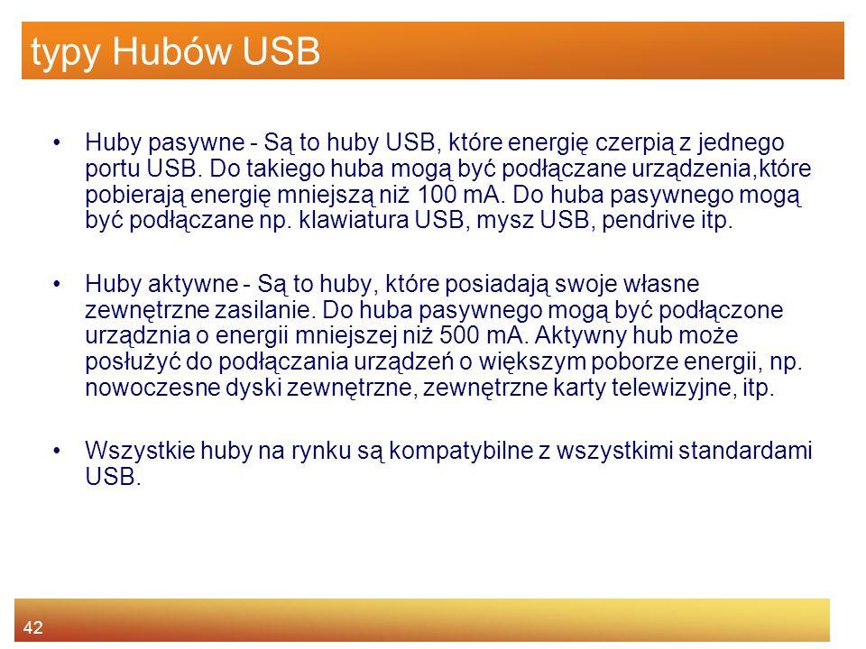 42 typy Hubów USB Huby pasywne - Są to huby USB, które energię czerpią z jednego portu USB.