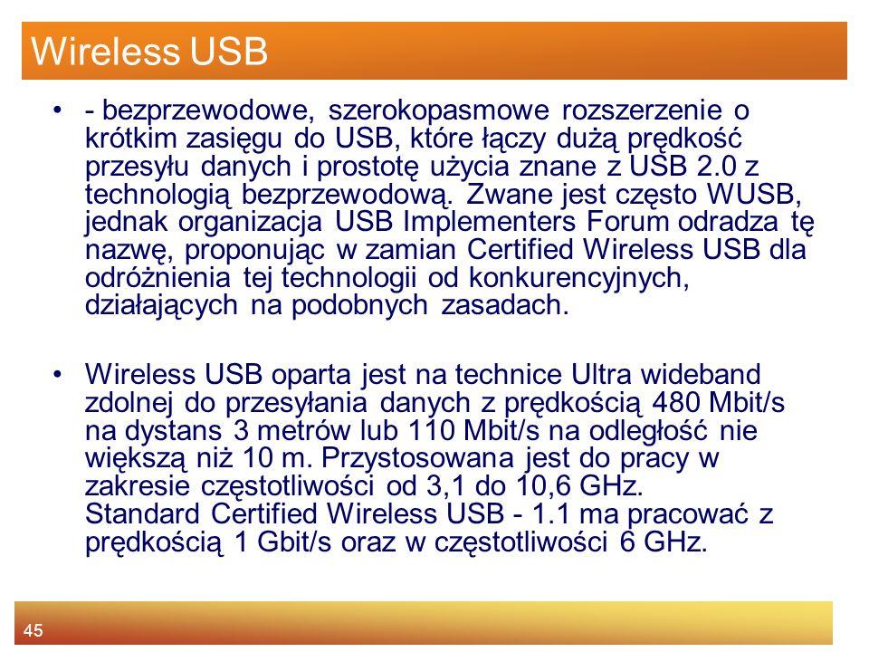 45 Wireless USB - bezprzewodowe, szerokopasmowe rozszerzenie o krótkim zasięgu do USB, które łączy dużą prędkość przesyłu danych i prostotę użycia znane z USB 2.0 z technologią bezprzewodową.