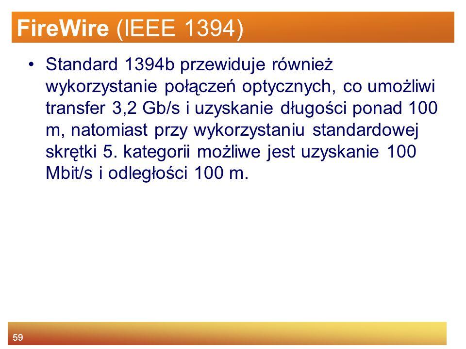 59 FireWire (IEEE 1394) Standard 1394b przewiduje również wykorzystanie połączeń optycznych, co umożliwi transfer 3,2 Gb/s i uzyskanie długości ponad 100 m, natomiast przy wykorzystaniu standardowej skrętki 5.