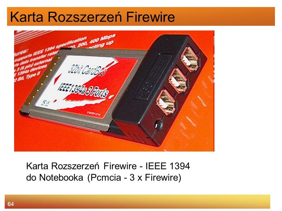 64 Karta Rozszerzeń Firewire Karta Rozszerzeń Firewire - IEEE 1394 do Notebooka (Pcmcia - 3 x Firewire)
