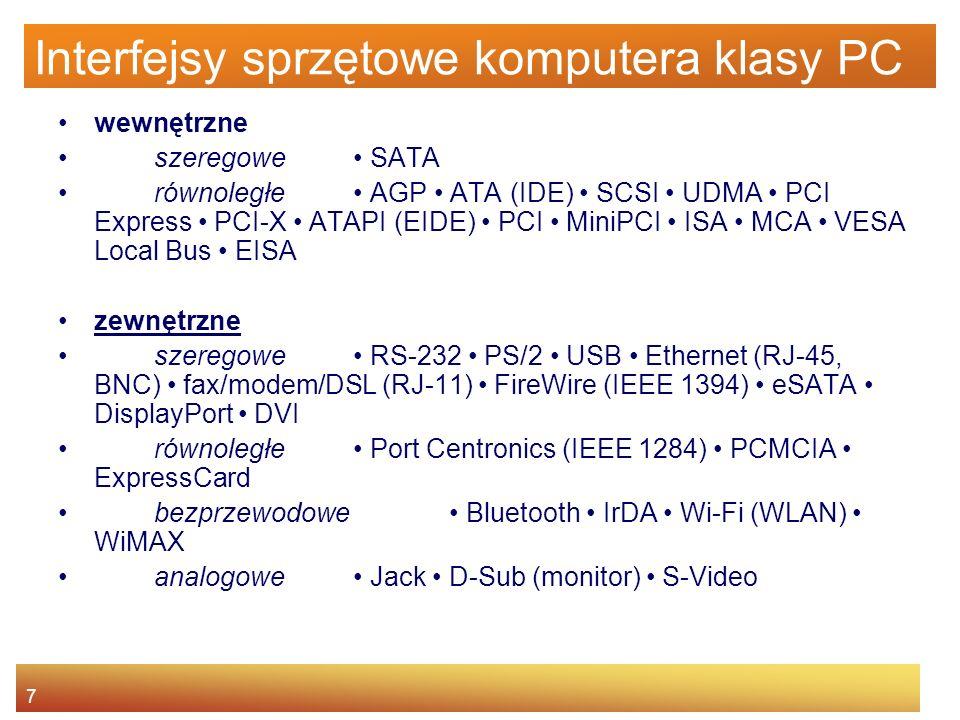 7 Interfejsy sprzętowe komputera klasy PC wewnętrzne szeregowe SATA równoległe AGP ATA (IDE) SCSI UDMA PCI Express PCI-X ATAPI (EIDE) PCI MiniPCI ISA MCA VESA Local Bus EISA zewnętrzne szeregowe RS-232 PS/2 USB Ethernet (RJ-45, BNC) fax/modem/DSL (RJ-11) FireWire (IEEE 1394) eSATA DisplayPort DVI równoległe Port Centronics (IEEE 1284) PCMCIA ExpressCard bezprzewodowe Bluetooth IrDA Wi-Fi (WLAN) WiMAX analogowe Jack D-Sub (monitor) S-Video
