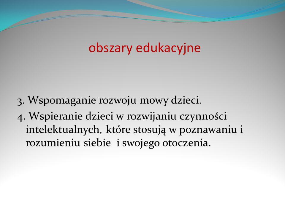 obszary edukacyjne 3. Wspomaganie rozwoju mowy dzieci. 4. Wspieranie dzieci w rozwijaniu czynności intelektualnych, które stosują w poznawaniu i rozum