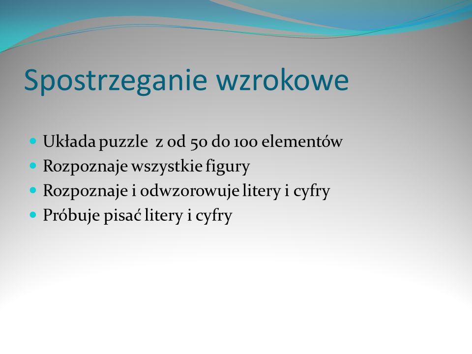 Spostrzeganie wzrokowe Układa puzzle z od 50 do 100 elementów Rozpoznaje wszystkie figury Rozpoznaje i odwzorowuje litery i cyfry Próbuje pisać litery