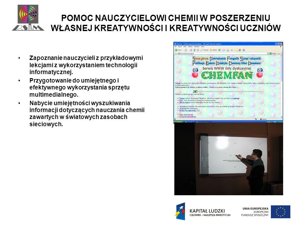 PROGRAMY OGÓLNODOSTĘPNE W ZASOBACH INTERNETU Program do wykorzystania za pomocą rzutnika multimedialnego lub tablicy interaktywnej Animacje wykorzystywane za pomocą rzutnika multimedialnego Portale i serwisy edukacyjne pomocne nauczycielowi chemii