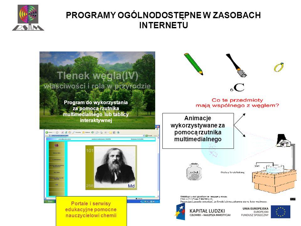 PROGRAMY OGÓLNODOSTĘPNE W ZASOBACH INTERNETU Program do wykorzystania za pomocą rzutnika multimedialnego lub tablicy interaktywnej Animacje wykorzysty