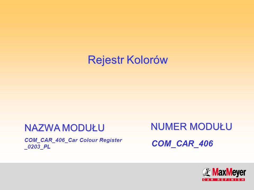 Rejestr Kolorów - Car Colour Register Rejestr zapewniający informacje o wszystkich lakierniczych systemach renowacyjnych MaxMeyer Kolory posortowane według kodu producenta pojazdów Dopasowanie koloru karoserii do zderzaków i innych akcesoriów W przypadku producentów stosujących więcej niż jeden kod dla danego koloru, wydrukowane są wszystkie kody Opis koloru, rok produkcji Obecność receptury w mikrofiszach w różnych systemach lakierniczych Kod referencyjny koloru ułatwiający poszukiwania w różnych narzędziach kolorystycznych (Selevariant, Logicolor, Selecolor, CSC) Co dwa lata nowa edycja, kwartalne uaktualnienia