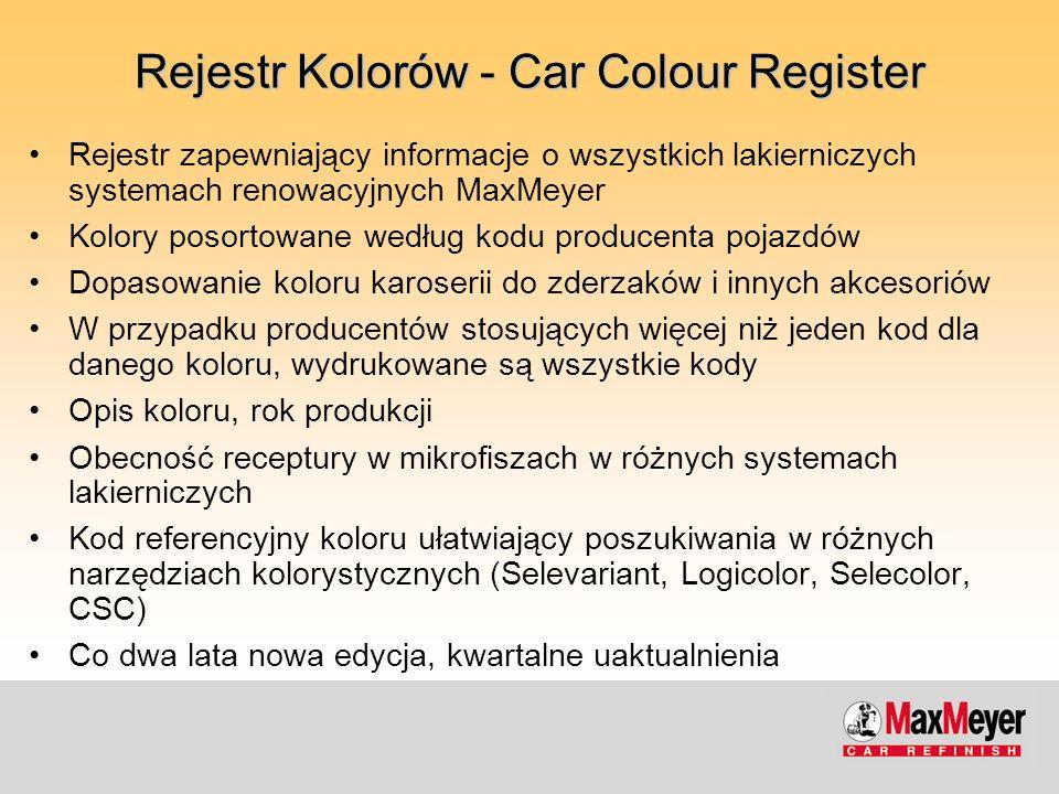 Rejestr Kolorów - Car Colour Register Rejestr zapewniający informacje o wszystkich lakierniczych systemach renowacyjnych MaxMeyer Kolory posortowane w