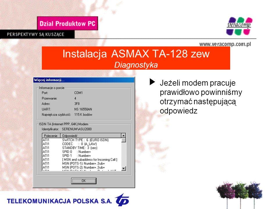 Instalacja ASMAX TA-128 zew Diagnostyka UJeżeli modem pracuje prawidłowo powinniśmy otrzymać następującą odpowiedz