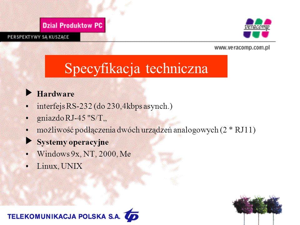 Specyfikacja techniczna UHardware interfejs RS-232 (do 230,4kbps asynch.) gniazdo RJ-45