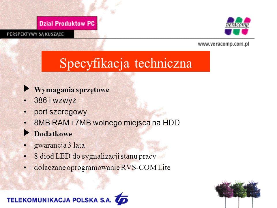 Specyfikacja techniczna Wymagania sprzętowe 386 i wzwyż port szeregowy 8MB RAM i 7MB wolnego miejsca na HDD Dodatkowe gwarancja 3 lata 8 diod LED do s