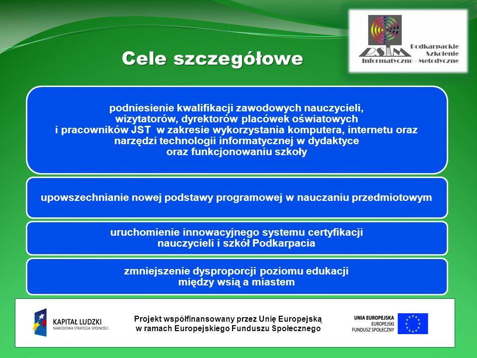 Projekt współfinansowany przez Unię Europejską w ramach Europejskiego Funduszu Społecznego Cele szczegółowe podniesienie kwalifikacji zawodowych nauczycieli, wizytatorów, dyrektorów placówek oświatowych i pracowników JST w zakresie wykorzystania komputera, internetu oraz narzędzi technologii informatycznej w dydaktyce oraz funkcjonowaniu szkoły upowszechnianie nowej podstawy programowej w nauczaniu przedmiotowym uruchomienie innowacyjnego systemu certyfikacji nauczycieli i szkół Podkarpacia zmniejszenie dysproporcji poziomu edukacji między wsią a miastem