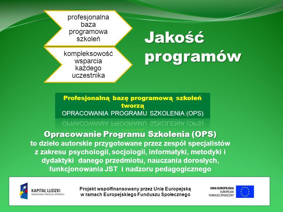 Projekt współfinansowany przez Unię Europejską w ramach Europejskiego Funduszu Społecznego profesjonalna baza programowa szkoleń kompleksowość wsparcia każdego uczestnikaJakośćprogramów Opracowanie Programu Szkolenia (OPS) Opracowanie Programu Szkolenia (OPS) to dzieło autorskie przygotowane przez zespół specjalistów z zakresu psychologii, socjologii, informatyki, metodyki i dydaktyki danego przedmiotu, nauczania dorosłych, funkcjonowania JST i nadzoru pedagogicznego
