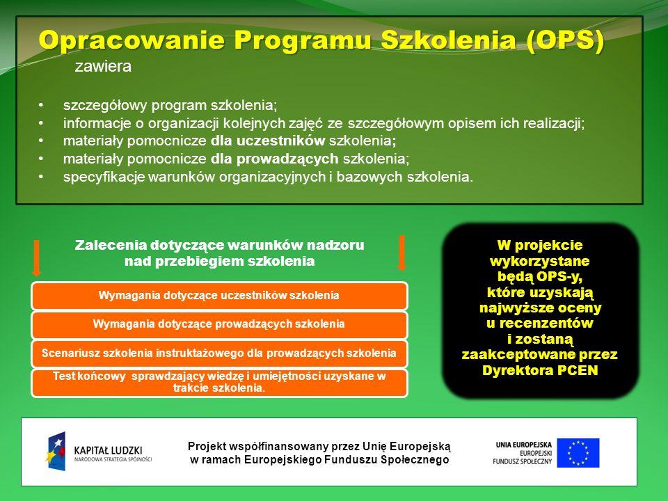 Projekt współfinansowany przez Unię Europejską w ramach Europejskiego Funduszu Społecznego Wymagania dotyczące uczestników szkoleniaWymagania dotyczące prowadzących szkoleniaScenariusz szkolenia instruktażowego dla prowadzących szkolenia Test końcowy sprawdzający wiedzę i umiejętności uzyskane w trakcie szkolenia.