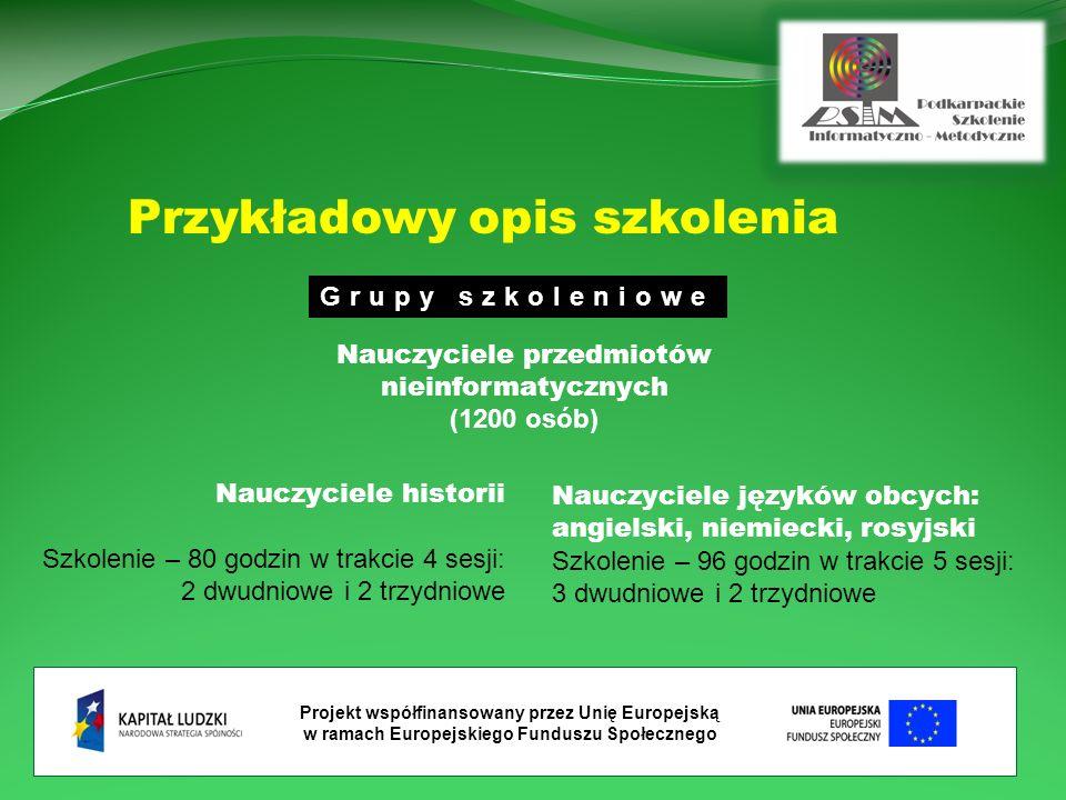 Projekt współfinansowany przez Unię Europejską w ramach Europejskiego Funduszu Społecznego Nauczyciele historii Szkolenie – 80 godzin w trakcie 4 sesji: 2 dwudniowe i 2 trzydniowe Nauczyciele języków obcych: angielski, niemiecki, rosyjski Szkolenie – 96 godzin w trakcie 5 sesji: 3 dwudniowe i 2 trzydniowe Przykładowy opis szkolenia Grupy szkoleniowe Nauczyciele przedmiotów nieinformatycznych (1200 osób)