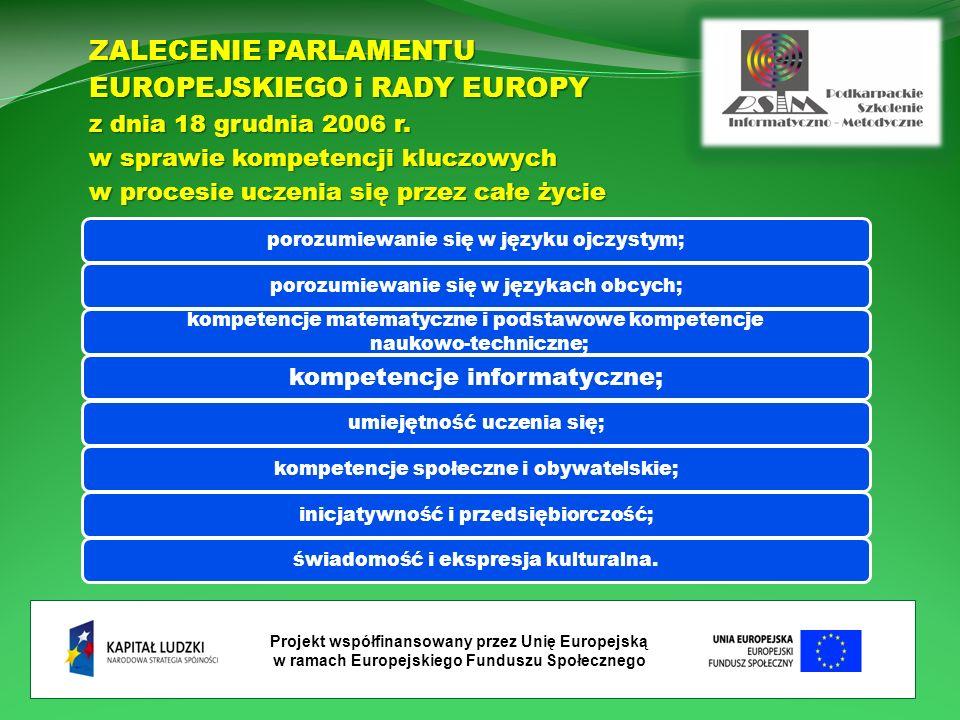 Projekt współfinansowany przez Unię Europejską w ramach Europejskiego Funduszu Społecznego ZALECENIE PARLAMENTU EUROPEJSKIEGO i RADY EUROPY z dnia 18 grudnia 2006 r.