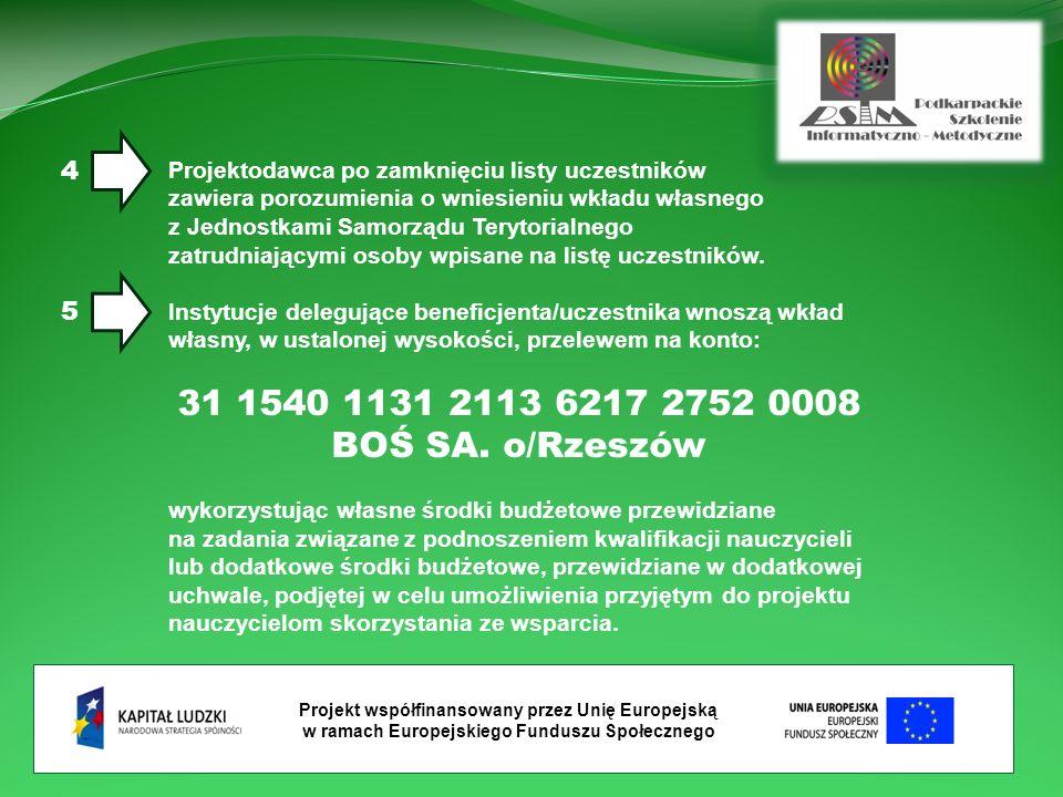 Projekt współfinansowany przez Unię Europejską w ramach Europejskiego Funduszu Społecznego Projektodawca po zamknięciu listy uczestników zawiera porozumienia o wniesieniu wkładu własnego z Jednostkami Samorządu Terytorialnego zatrudniającymi osoby wpisane na listę uczestników.