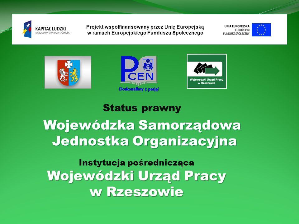 Status prawny Wojewódzka Samorządowa Jednostka Organizacyjna Projekt współfinansowany przez Unię Europejską w ramach Europejskiego Funduszu Społecznego Instytucja pośrednicząca Wojewódzki Urząd Pracy w Rzeszowie