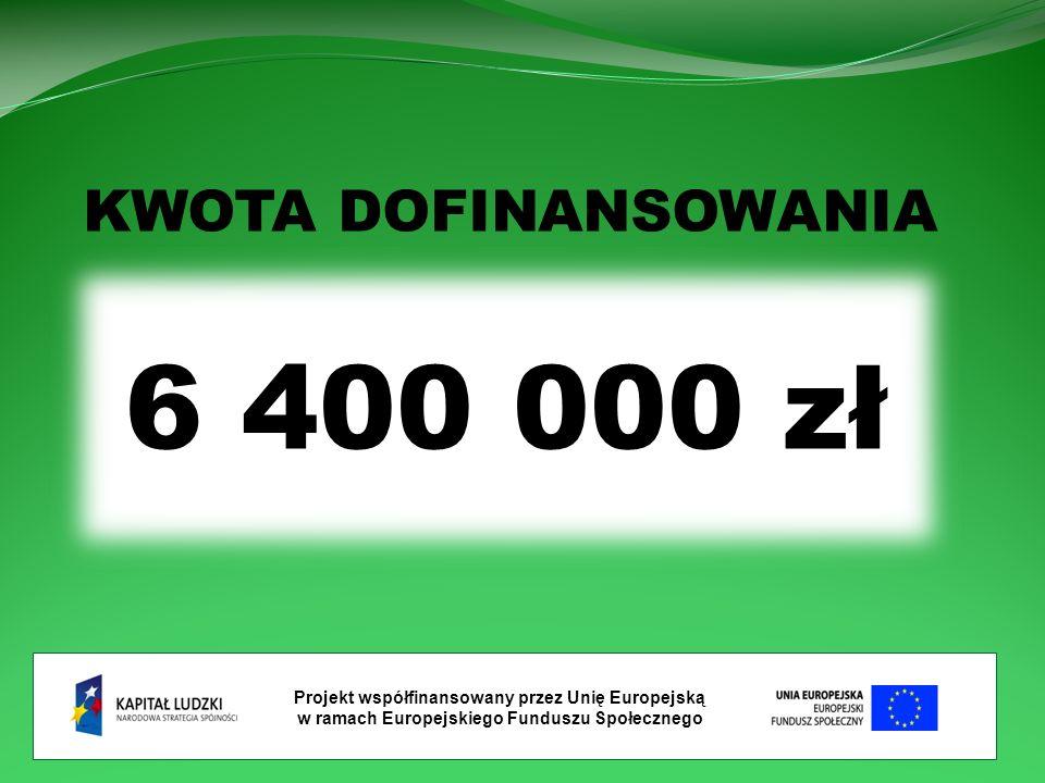 Projekt współfinansowany przez Unię Europejską w ramach Europejskiego Funduszu Społecznego KWOTA DOFINANSOWANIA 6 400 000 zł