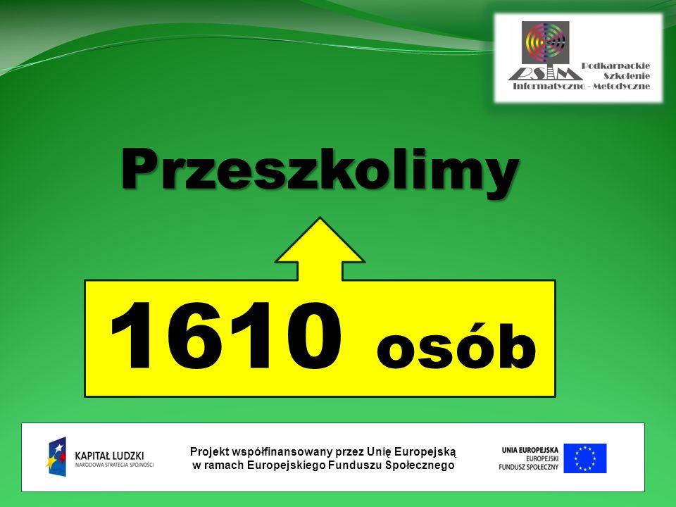 Projekt współfinansowany przez Unię Europejską w ramach Europejskiego Funduszu Społecznego Przeszkolimy 1610 osób